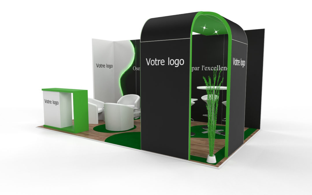 Location stand d'exposition personnalisable Wave 15m2