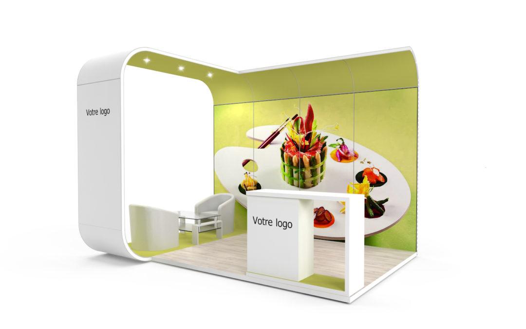 Location stand d'exposition personnalisable Bubble 12m2