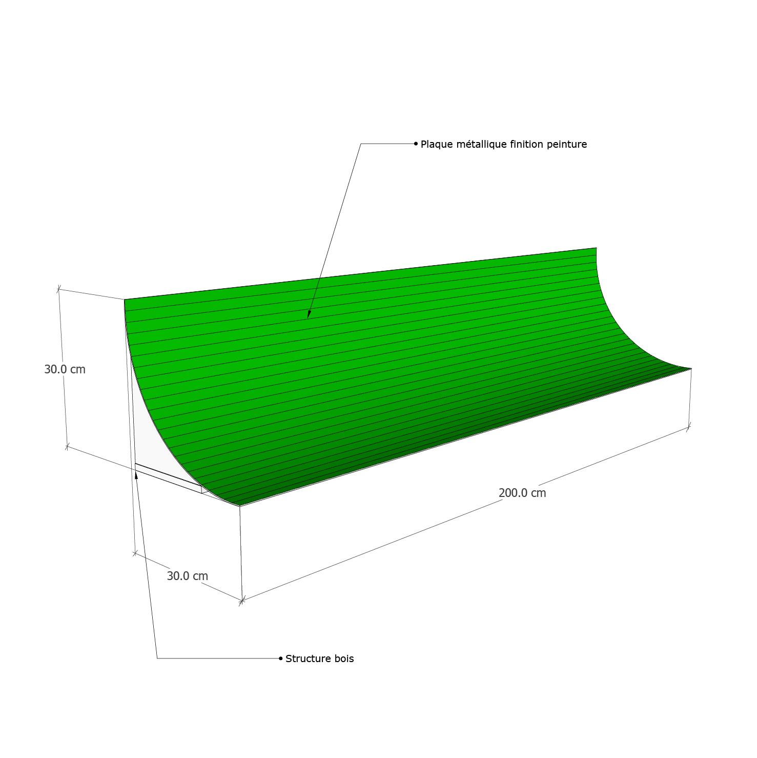 Structure fond vert cyclo droit