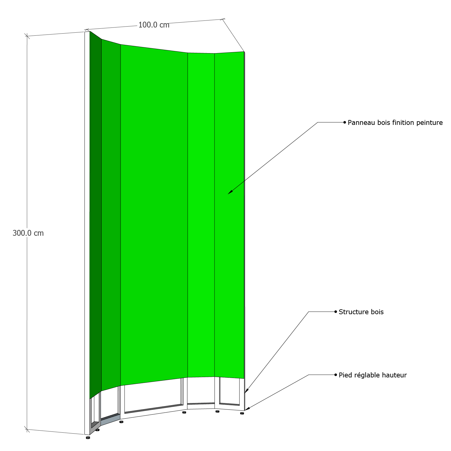 Structure fond vert mur angle courbe